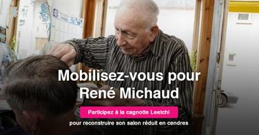 Les coiffeurs viennent en aide à René Michaud, le coiffeur de 90 ans qui a vu partir son salon en fumée !