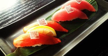 Des QR codes sur les sushis